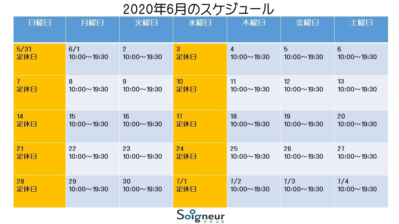 2020年6月のスケジュール